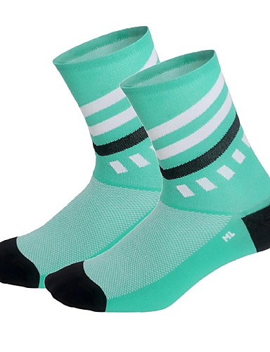 cheap Cycling Clothing-Compression Socks Sport Socks / Athletic Socks Cycling Socks Men's Bike / Cycling Breathable Cycling Wearable 1 Pair Stripes Nylon Spandex Blue Pink Dark Green One-Size / High Elasticity