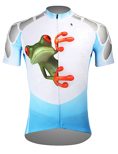 cheap Cycling Clothing-ILPALADINO Men's Short Sleeve Cycling Jersey Blue Bike Jersey Top Breathable Quick Dry Ultraviolet Resistant Sports Polyester 100% Polyester Terylene Mountain Bike MTB Road Bike Cycling Clothing