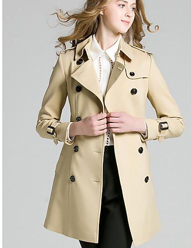 billige Ytterklær til damer-Dame Daglig Grunnleggende Høst vinter Normal Trenchcoat, Ensfarget Aftæpning Langermet Polyester Kakifarget M / L / XL