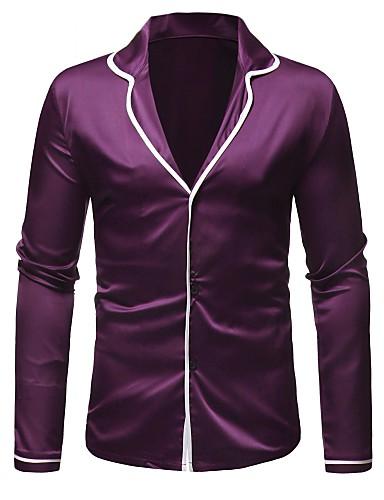 voordelige Herenoverhemden-Heren Standaard Overhemd Kleurenblok Paars / Lange mouw