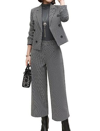 abordables Hauts pour Femmes-Femme Travail Basique Mince Set - Damier Pantalon Col de Chemise
