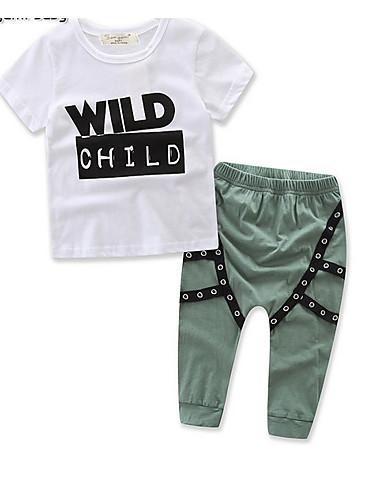 b16340f79eee6 Çocuklar Genç Erkek Temel Günlük Solid Desen Kısa Kollu Uzun Kollu Normal  Normal Pamuklu Polyester Kıyafet