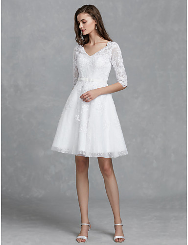cheap Wedding Dresses-A-Line V Neck Knee Length Lace Made-To-Measure Wedding Dresses with Bow(s) / Sashes / Ribbons by LAN TING BRIDE®