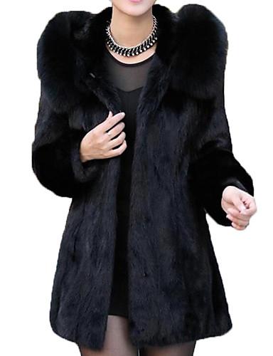 abordables Manteaux & Vestes Femme-Femme Sortie Basique Longue Manteau en Fourrure, Couleur Pleine Col plissé Manches Longues Polyester Noir