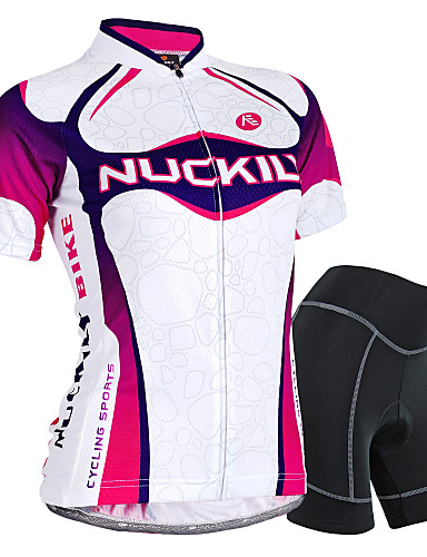 cheap Cycling Clothing-Nuckily Women's Short Sleeve Cycling Jersey with Shorts - Purple Gradient Bike Shorts Jersey Clothing Suit Waterproof Breathable 3D Pad Reflective Strips Sweat-wicking Sports Polyester Spandex