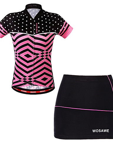 cheap Cycling Clothing-WOSAWE Women's Short Sleeve Cycling Jersey with Skirt - Fuchsia Bike Skirt Jersey Padded Shorts / Chamois Breathable Moisture Wicking Quick Dry Reflective Strips Sports Elastane Scales Mountain Bike
