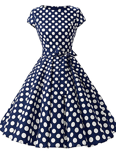 914955b6654 Women s Polka Dot Plus Size Daily Vintage A Line Dress - Polka Dot Print  Summer Cotton White Red Navy Blue L XL XXL
