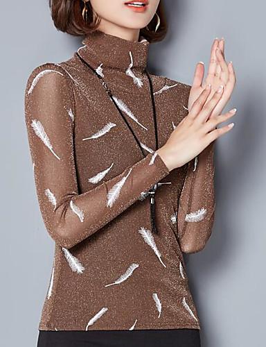 billige Topper til damer-Rullekrage T-skjorte Dame - Geometrisk Grunnleggende Brun XXL