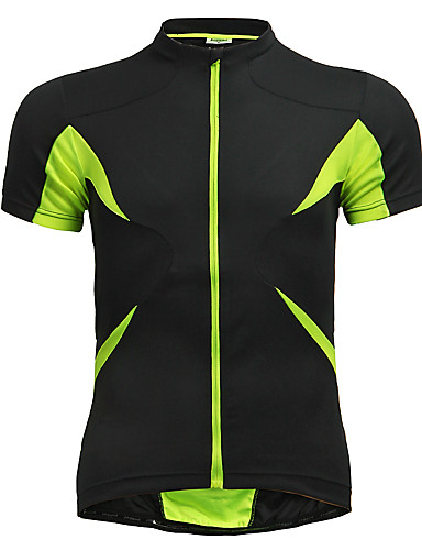 cheap Cycling Clothing-Jaggad Men's Women's Short Sleeve Cycling Jersey - Green / Black Solid Color Bike Jersey Top Breathable Quick Dry Sports Polyester Elastane Mountain Bike MTB Road Bike Cycling Clothing Apparel