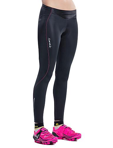 tanie Odzież rowerowa-SANTIC Damskie Spodnie rowerowe Rower Spodnie / Rajstopy / Spodenki snowboardowe Oddychający, Wkładka 3D Solidne kolory, Klasyczny Elastyna Czarny Zaawansowany Kolarstwo górskie Krój typu Semi-Form