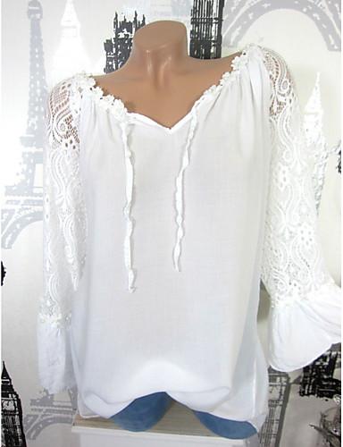 billige Dametopper-Tynn V-hals Skjorte Dame - Ensfarget Svart