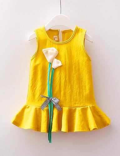 Μωρό Κοριτσίστικα Βασικό Συνδυασμός Χρωμάτων / Patchwork Φιόγκος / Με Βολάν Αμάνικο Πάνω από το Γόνατο Πολυεστέρας Φόρεμα Ρουμπίνι