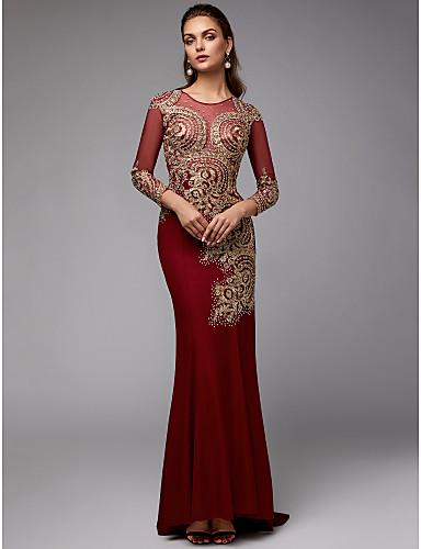c32fdc4f1b54 Χαμηλού Κόστους Κόκκινα φορέματα χορού αποφοίτησης-Τρομπέτα   Γοργόνα Με Κόσμημα  Ουρά Spandex   Δαντέλα