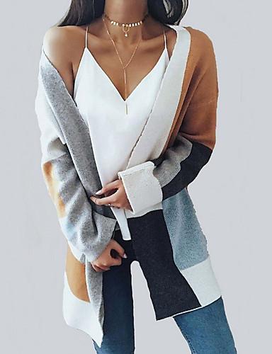 532ad81635ddc5 Per donna Fine settimana Moda città Monocolore Manica lunga Standard  Cardigan, A V Cammello L / XL / XXL