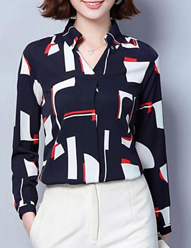 billige Topper til damer-Tynn Skjortekrage Bluse Dame - Fargeblokk Grunnleggende Ut på byen Hvit L