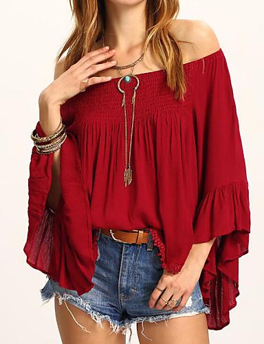 abordables Hauts pour Femme-Tee-shirt Femme, Couleur Pleine Sortie Epaules Dénudées Mince Vin
