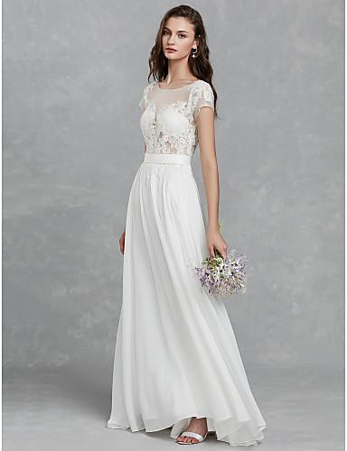 c95366f51f4 Γραμμή Α Scoop Neck Ουρά Σιφόν / Δαντέλα Φορέματα γάμου φτιαγμένα στο μέτρο  με Δαντέλα /