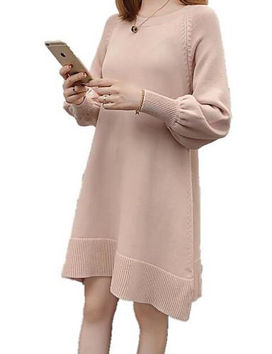 abordables Robes Femme-Femme Basique Mi-long Tricot Robe Couleur Pleine Automne Noir Rose Claire Beige Taille unique Manches Longues