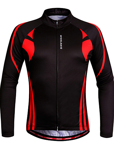 cheap Cycling Clothing-WOSAWE Men's Women's Long Sleeve Cycling Jersey - Red / black Plus Size Bike Sweatshirt Jersey Top Breathable Quick Dry Anatomic Design Sports 100% Polyester Mountain Bike MTB Road Bike Cycling