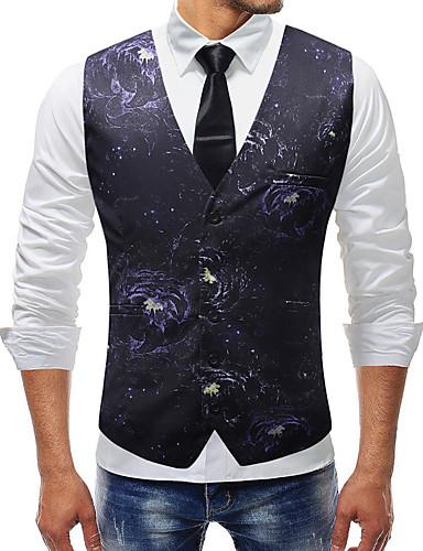 voordelige Herenblazers & kostuums-Heren Dagelijks Normaal Vest, Effen V-hals Mouwloos Polyester Marineblauw