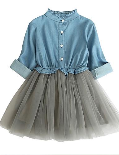 Aggressivo Bambino Da Ragazza Essenziale Monocolore Manica Lunga Vestito Blu #06920471