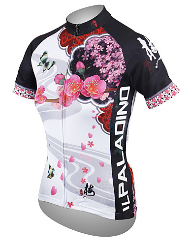 cheap Cycling Clothing-ILPALADINO Women's Short Sleeve Cycling Jersey - White Floral Botanical Plus Size Bike Jersey Top Breathable Quick Dry Ultraviolet Resistant Sports Polyester 100% Polyester Terylene Mountain Bike MTB