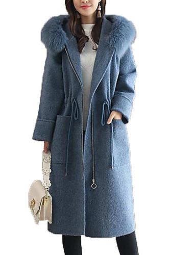 abordables Manteaux & Vestes Femme-Femme Sortie Actif Maxi Manteau, Couleur Pleine Capuche Manches Longues Polyester Bleu / Gris