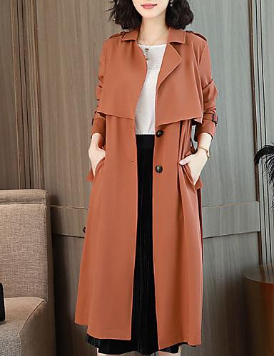 billige Ytterklær til damer-Dame Arbeid Lang Trenchcoat, Ensfarget Rullekrage Langermet Polyester Svart / Oransje / Kakifarget L / XL / XXL