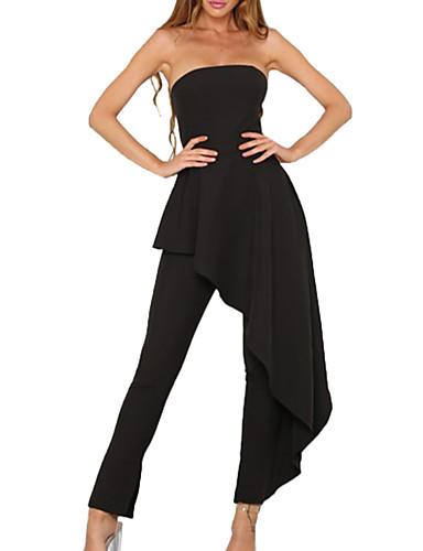 femme quotidien sans bretelles noir combinaison pantalon. Black Bedroom Furniture Sets. Home Design Ideas