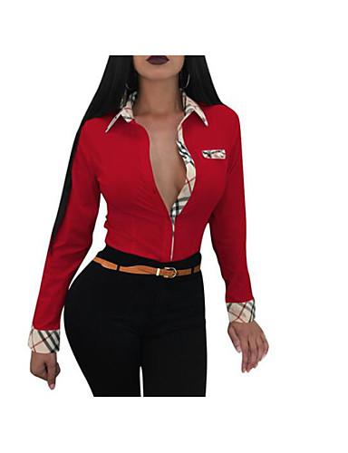 billige Topper til damer-Tynn Skjortekrage Skjorte Dame - Fargeblokk Ut på byen / Arbeid Blå