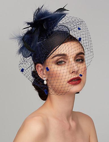 abordables Chapeau & coiffure-Plume / Filet Kentucky Derby Hat / Fascinators / Casque avec Plume / Fleur 1pc Mariage / Occasion spéciale Casque