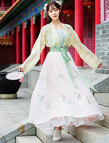 b171614ae Dance Costumes Hanfu Women's Training / Performance Cotton / Chiffon  Pattern / Print Long Sleeve High Skirts / Coat / Vest