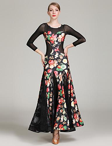 f0819fa08e92 Ballroom Dance Dresses Women's Training / Performance Spandex / Lace / Tulle  Lace / Pattern / Print / Split Joint Long Sleeve High Dress