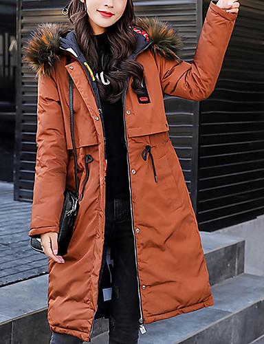 abordables Manteaux & Vestes Femme-Femme Quotidien Basique Couleur Pleine Maxi Doudoune, Coton Manches Longues Capuche Noir / Gris / Marron clair XL / XXL / XXXL