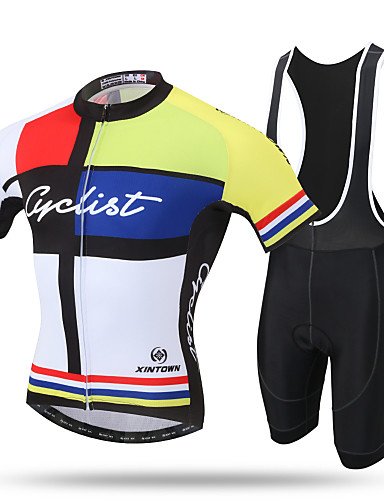 cheap Cycling Clothing-XINTOWN Men's Short Sleeve Cycling Jersey with Bib Shorts - Black Bike Bib Shorts Jersey Breathable 3D Pad Quick Dry Ultraviolet Resistant Sweat-wicking Sports Lycra Patchwork Mountain Bike MTB Road