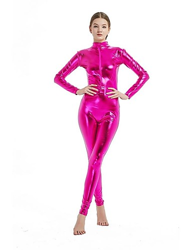 Zentai Suits Cosplay Costume Catsuit Adults' Cosplay Costumes Sex Pink / Golden / Fuchsia Solid Colored Spandex Lycra Elastic Men's Women's Christmas Halloween Carnival / High Elasticity / Skin Suit
