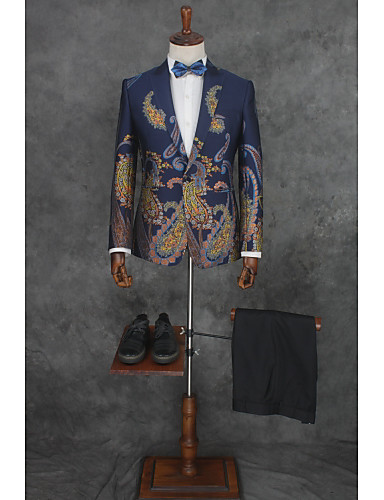 מעוטר גזרה מחוייטת כותנה / פוליאסטר חליפה - פתוח צר Single Breasted One-button