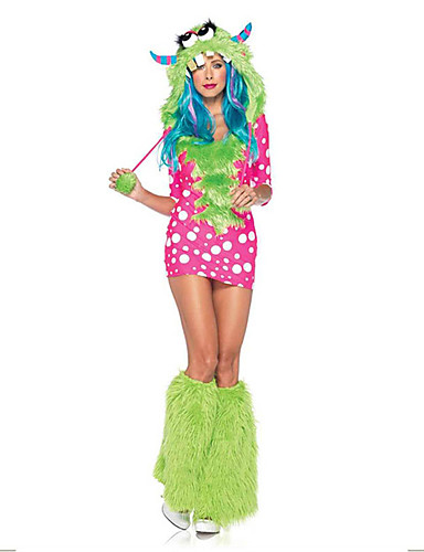 billige Halloween- og karnevalkostymer-Monstere uniformer Cosplay Kostumer Party-kostyme Kostume Fancy Costume Voksne Videregående skole Dame Cosplay Halloween Halloween Karneval Maskerade Festival / høytid Andre Material Spandex Rosa Dame