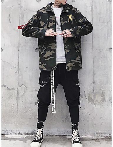 voordelige Herenjacks & jassen-Heren Dagelijks Lang Trenchcoat, Geometrisch / camouflage Capuchon Lange mouw Katoen / Polyester Rood / Geel