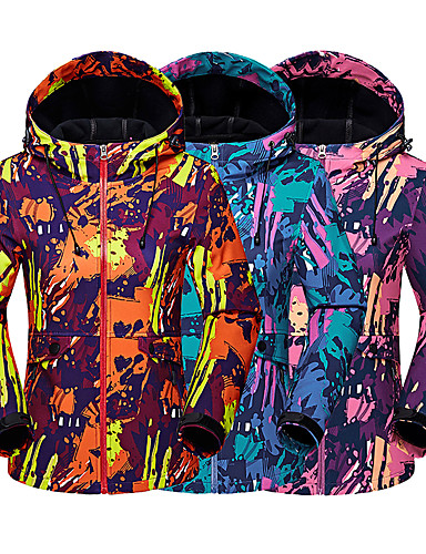 cheap Outdoor Clothing-Women's Camo Hiking Softshell Jacket Outdoor Thermal / Warm Breathable Warm Wearproof Spring Fall Winter Softshell Jacket Top Camping / Hiking Hunting Climbing Blue Orange Fuchsia XL XXL XXXL -