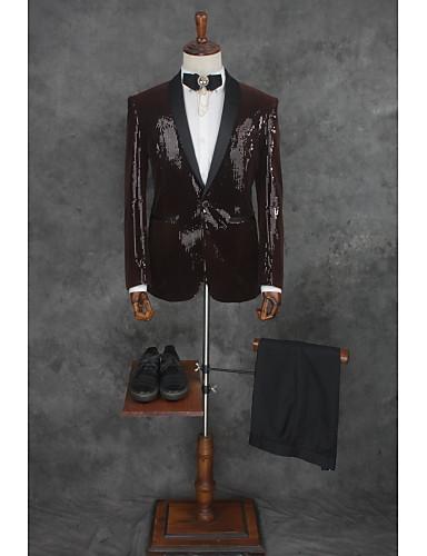 ソリッド テイラーフィット ポリエステル スーツ - ノッチドラペル シングルブレスト 一つボタン