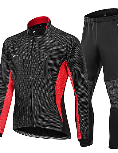 cheap Cycling Clothing-Nuckily Men's Long Sleeve Cycling Jacket with Pants Black / Red Black / Green Black / Blue Bike Clothing Suit Thermal / Warm Windproof Fleece Lining Winter Sports Polyester Spandex Fleece Patchwork