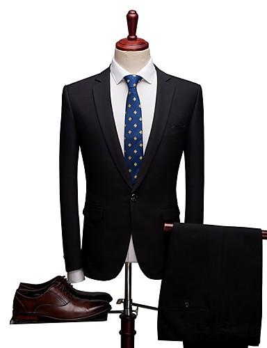 Jednobojni Standardni kroj Spandex / polyster Odijelo - Stepenasti Droit 1 bouton / odijela