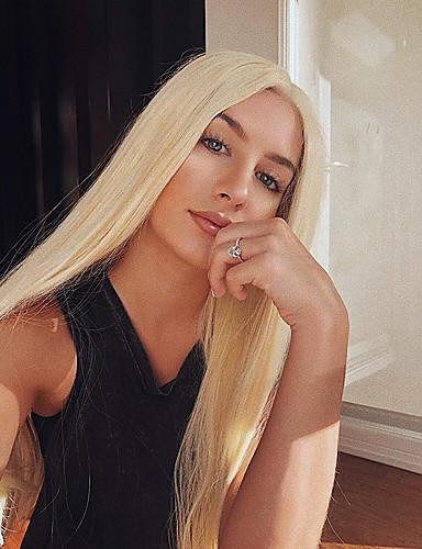 billige Blondeparykker med menneskehår-Ekte hår Blonde Forside Parykk Deep Parting Gaga stil Indisk hår Silke Rett Gull Blond Parykk 130% Hair Tetthet med baby hår Dame Lett dressing Naturlig Beste kvalitet Dame Medium Lengde