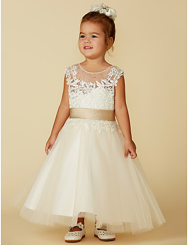 Ball Gown Knee Length   Ankle Length Flower Girl Dress - Lace   Tulle  Sleeveless Jewel Neck with Beading   Buttons   Belt by LAN TING BRIDE® 15198db8f02f