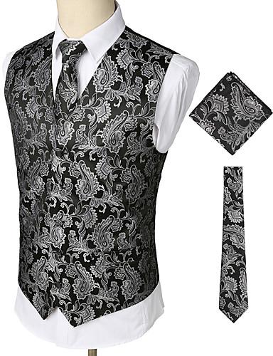 voordelige Herenblazers & kostuums-Heren Feest / Werk / Club Zakelijk / Vintage Lente / Herfst / Winter Normaal Vest, Paisley V-hals Mouwloos Katoen / Spandex Print Zilver / Business Casual / Slank