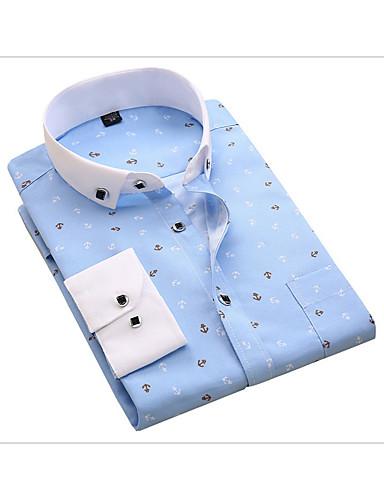 voordelige Uitverkoop-Heren Zakelijk Print Overhemd Katoen, Werk Polka dot / Geometrisch Slank Licht Blauw / Lange mouw / Lente / Herfst