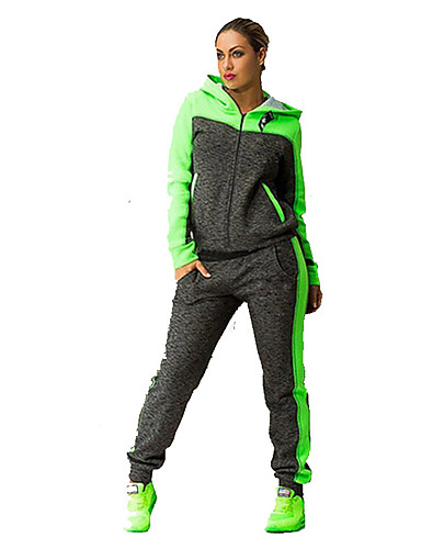 cheap Activewear-Women's Cowl Neck Elastic Waistband Tracksuit Green Pink Sports Color Block Hoodie Pants / Trousers Clothing Suit Fitness Gym Workout Long Sleeve Plus Size Activewear Breathable Quick Dry / Winter