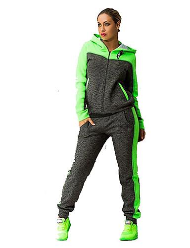 ieftine Îmbrăcăminte Atletică-Pentru femei Glugă Gât Curea elastică Trening Verde Roz Sport Bloc Culoare Hanorac cu Glugă Pantaloni Costume Fitness Gimnastică antrenament Manșon Lung Mărime Plus Size Îmbrăcăminte de Sport
