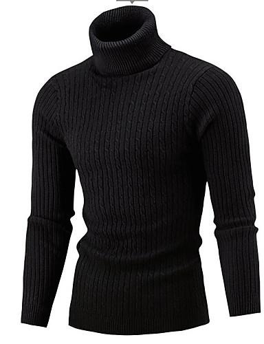 billige Herresweaters og cardigans-Herre Daglig Aktiv Ensfarvet Langærmet Tynd Normal Pullover, Rullekrave Rød / Beige / Grå L / XL / XXL